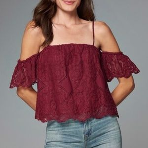 Abercrombie Cold Shoulder Red Lace Peasant Top